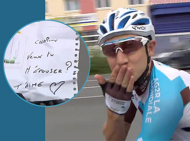 Tour de France Cyclist Cyril Gautier Proposes to His Girlfriend on Live TV During the Last Leg of 2,500-Mile Race